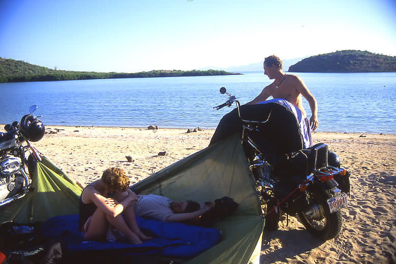 1 tarp, 3 motorbikes, 1 goat path down to the beach = priceless camping.