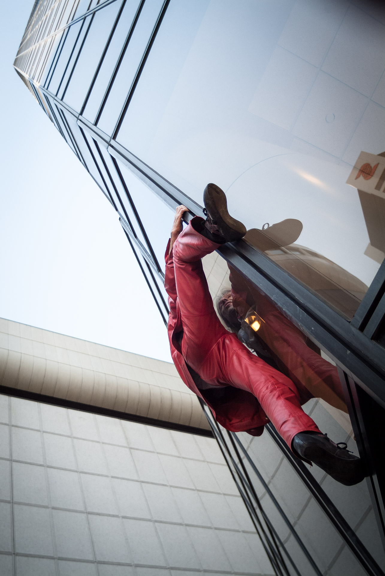 Alain trying out some holds. TD Tower, Vancouver. February 25th 2006