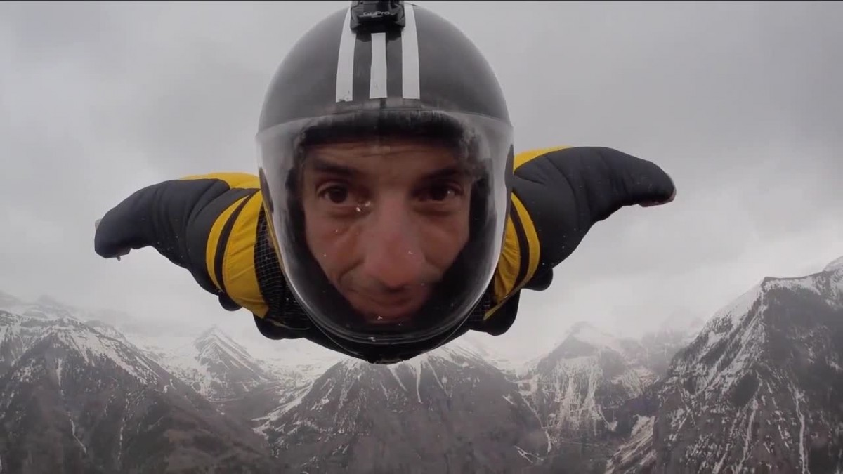 Dean on a wingsuit fly-by for Telluride Mountain Film Festival.