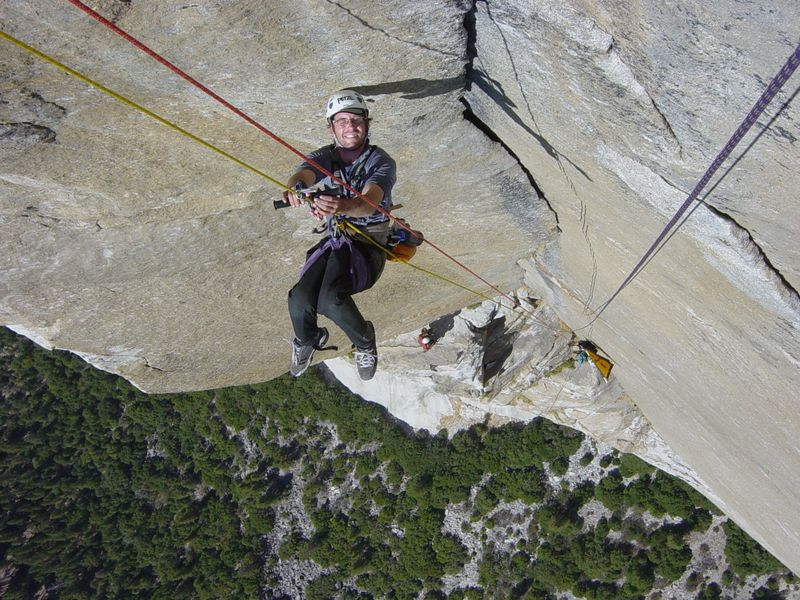 Sean O'Neill climbing El Cap, requiring over 3000 pull-ups.